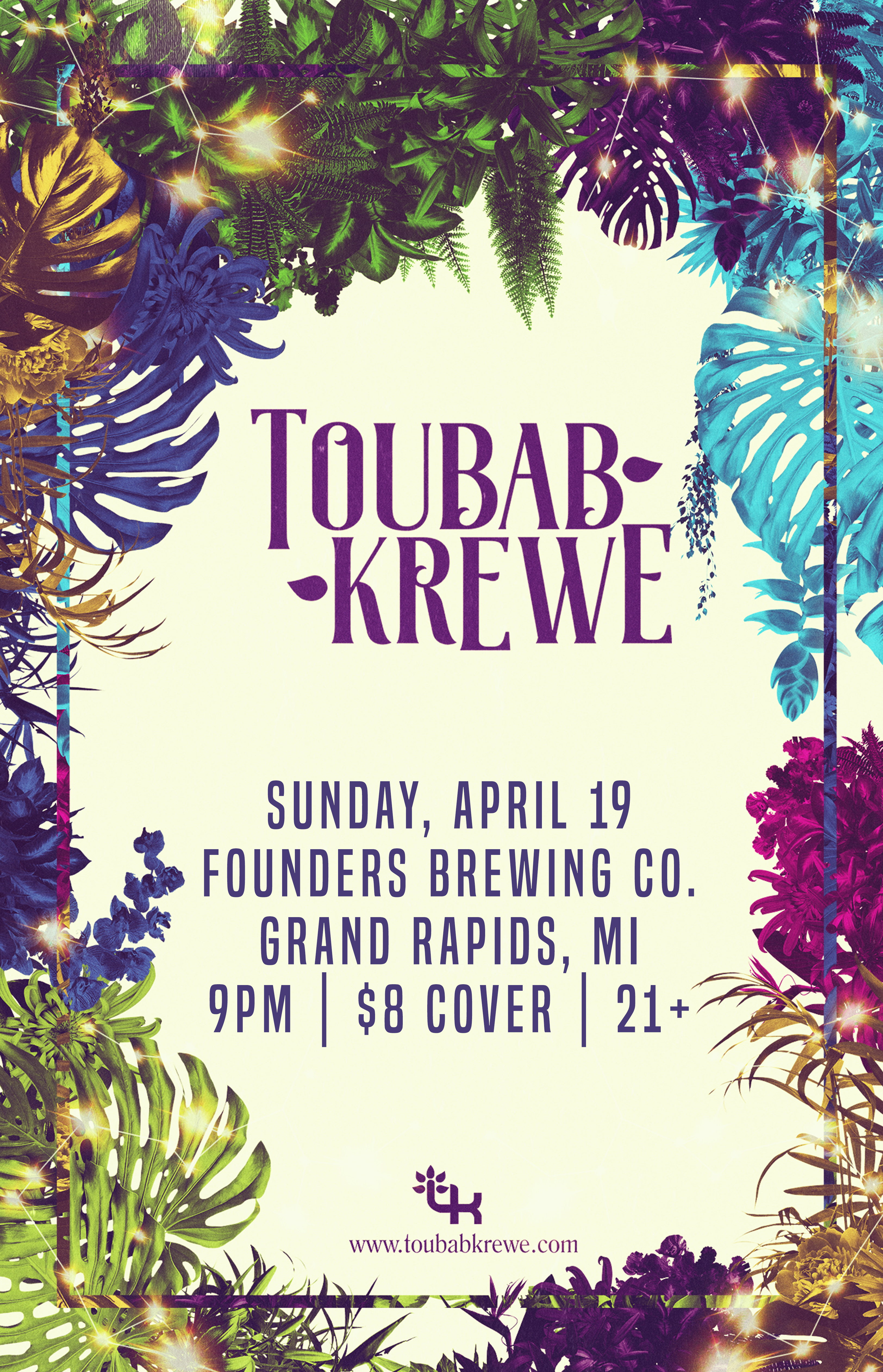 Toubab Krewe event poster hosted by Founders Brewing Co.