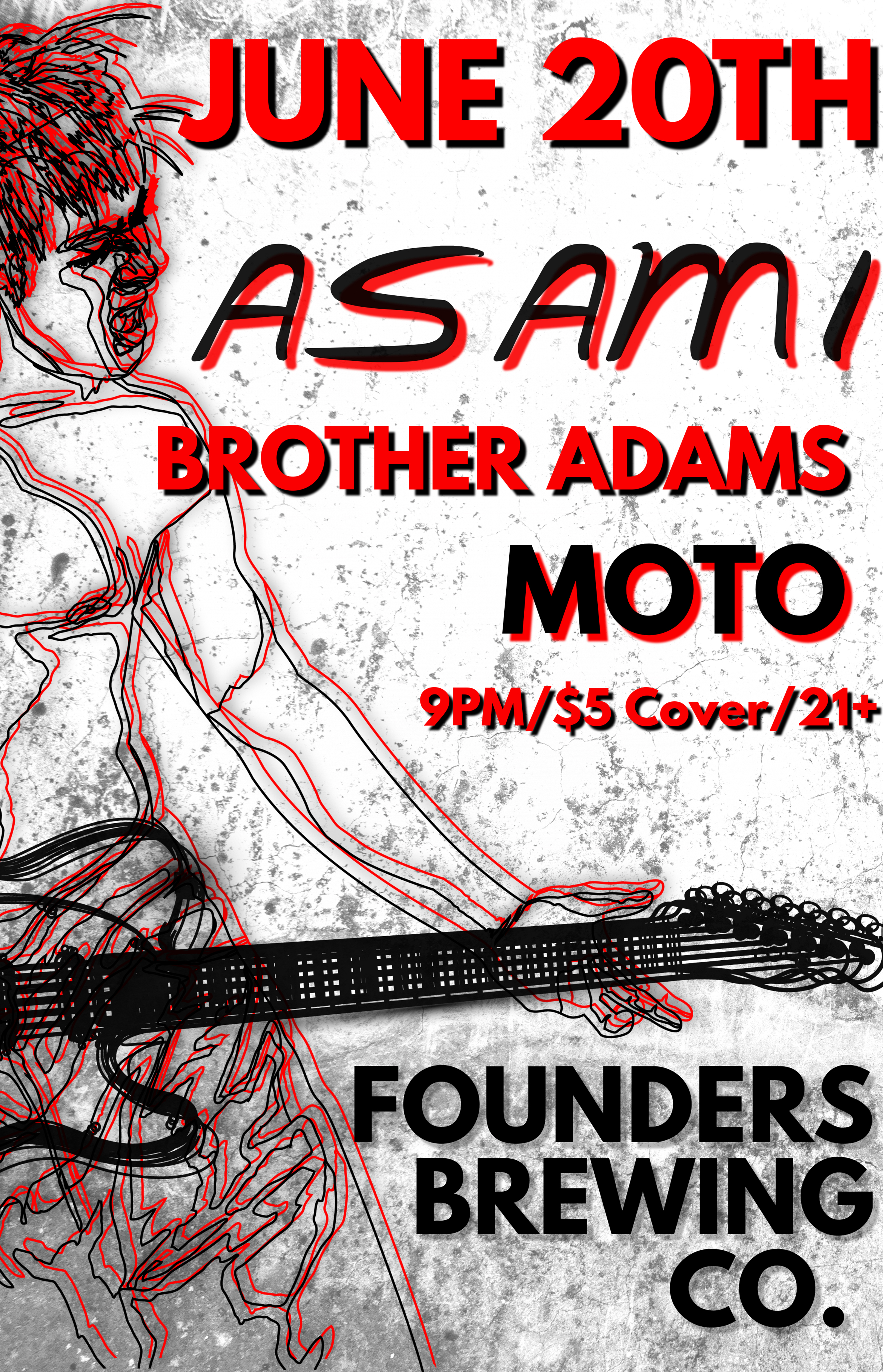 Event poster for As Am I with Brother Adams and Moto hosted by Founders Brewing Co.