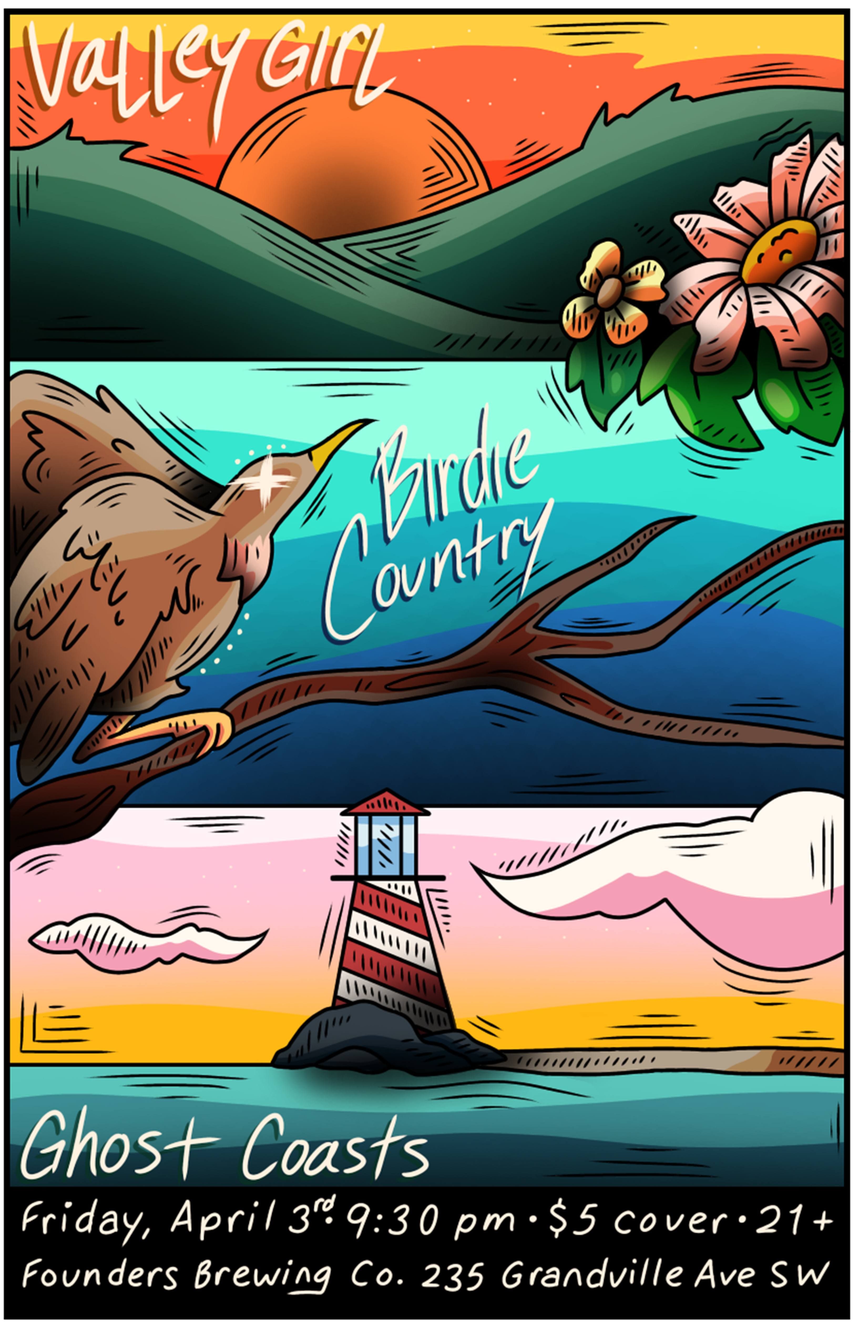 Birdie Country event poster hosted by Founders Brewing Co. in Grand Rapids