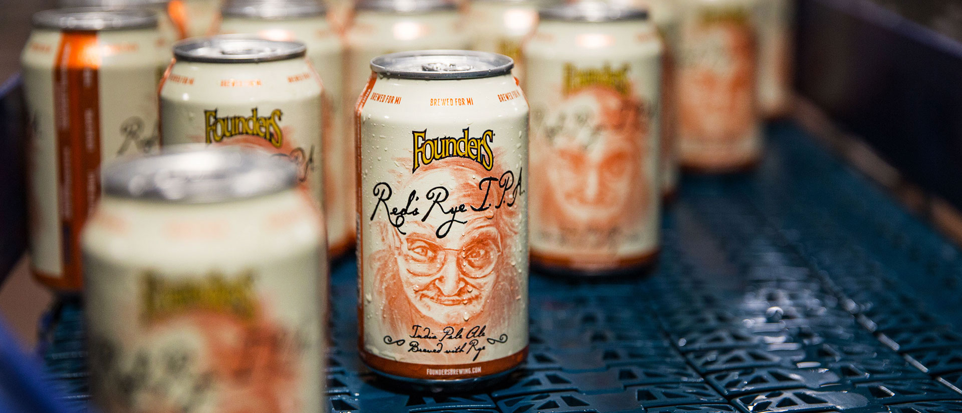 Cold cans of Founders Red's Rye Indian Pale Ale