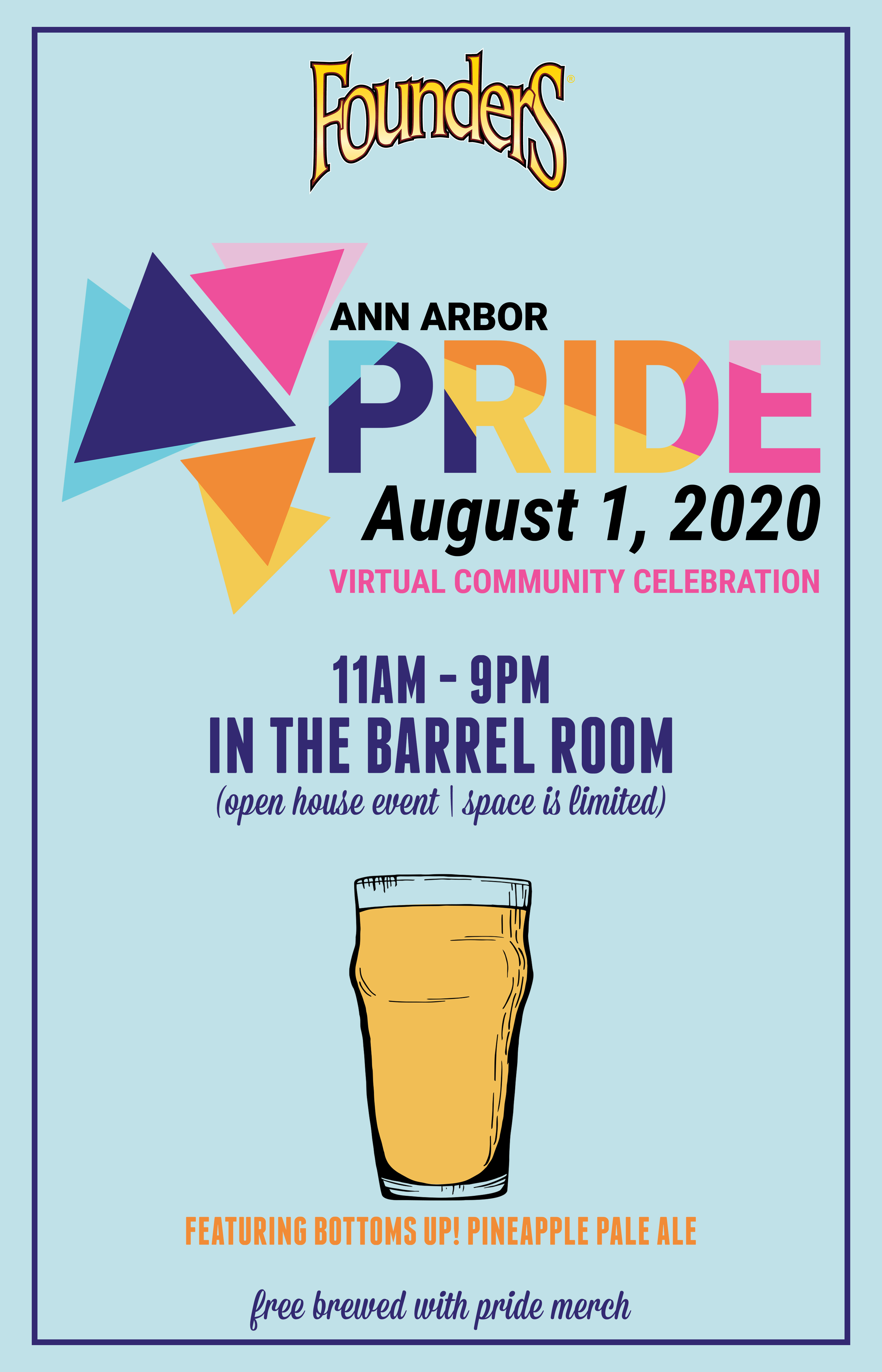 Ann Arbor Pride Virtual Celebration Viewing Party at the Detroit Taproom on August 1 at 11am