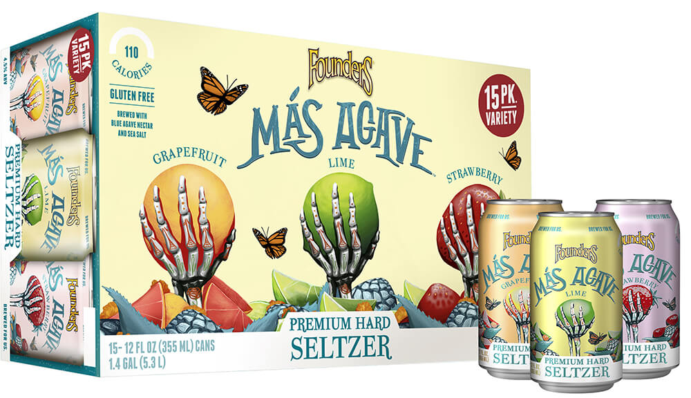 mas agave seltzer variety 15 pack can carrier 34 wcans