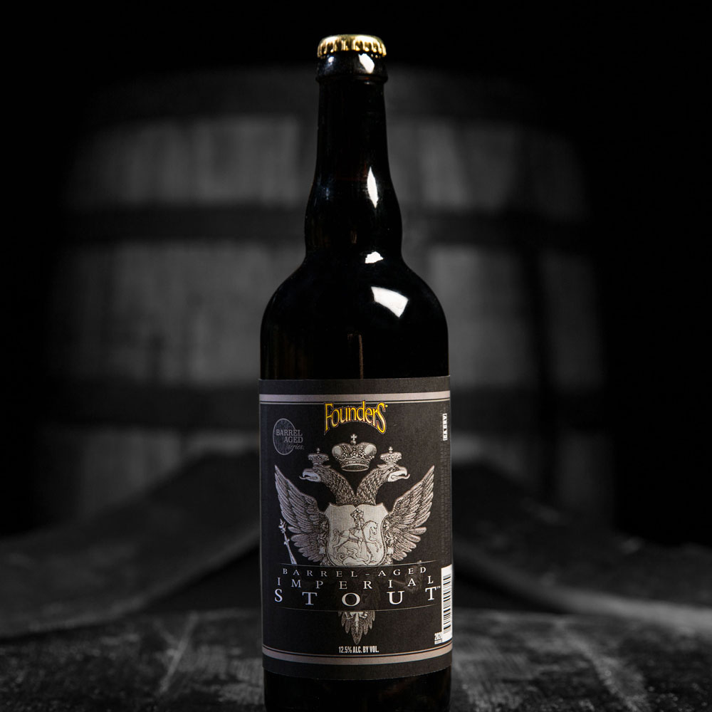 ba imperial stout bottle on bourbon barrels black and white image