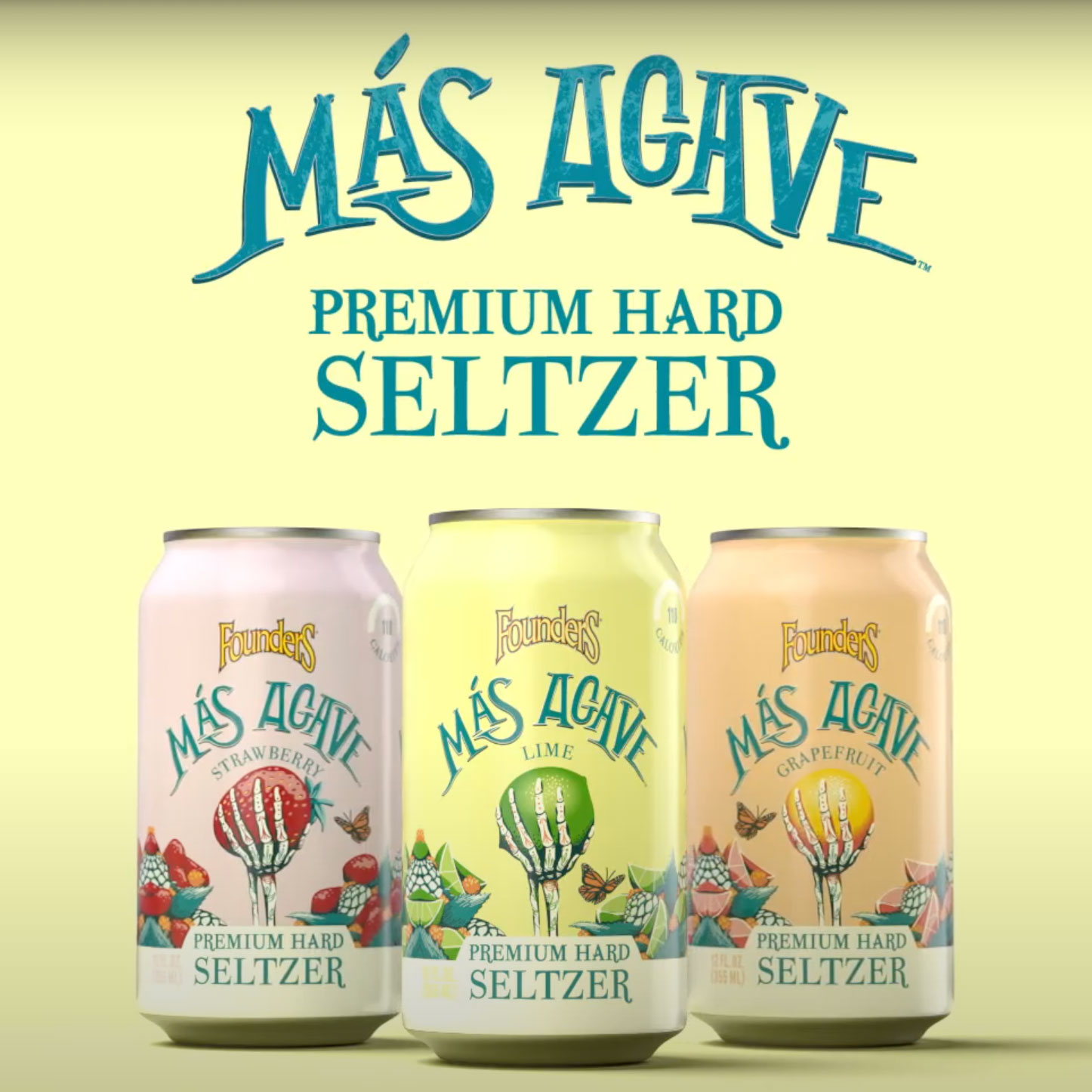 Three cans of mas agave premium hard seltzer with text above