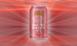 Scarlet Dawn Can with Sunburst behind it