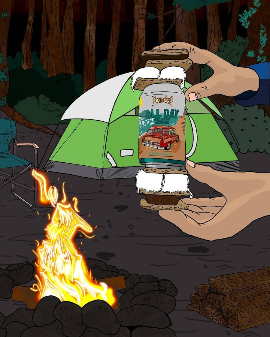 A graphic of a hand holding a can of All Day Vacay in front of a bonfire.