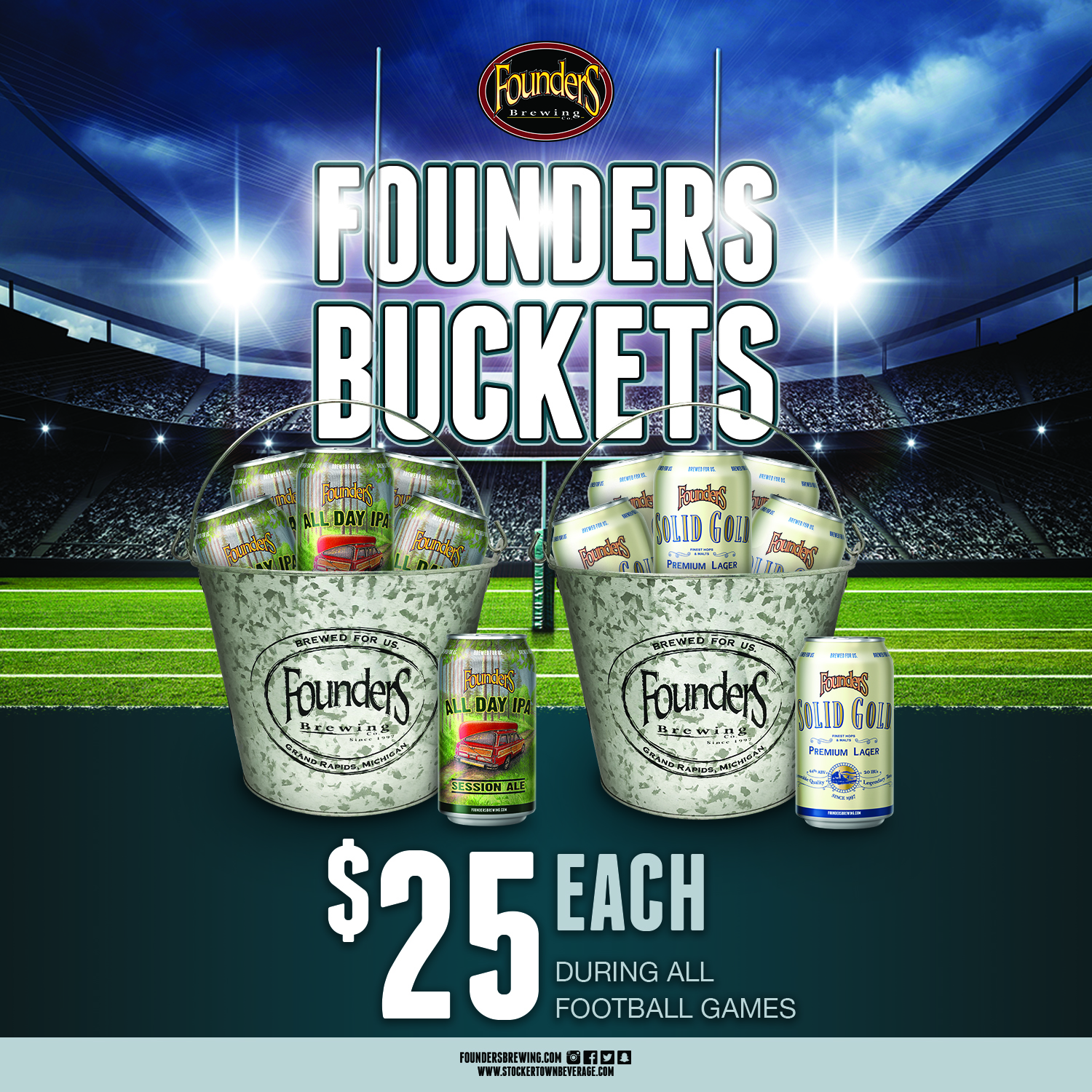 Founders Football Bucket Special All Day AND Solid Gold social flat