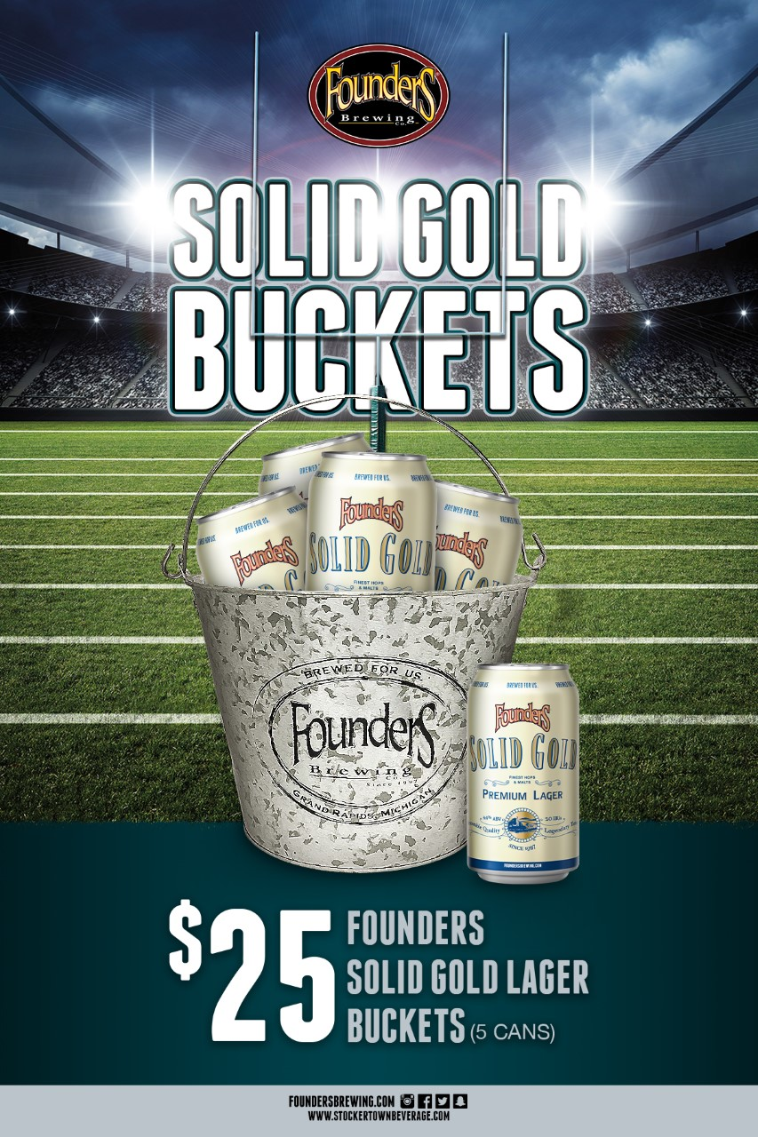 thumbnail Founders Football Bucket Special 5 cans postcards flat